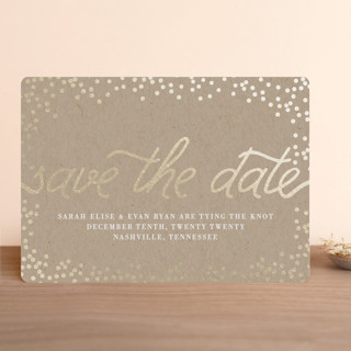 """Starlight"" - Whimsical & Funny Foil-pressed Save The Date Cards in Kraft by Saltwater Designs."