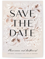 This is a beige foil stamped save the date card by Paper Raven Co. called Love in Bloom with foil-pressed printing on doublethick in standard.