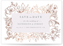 This is a pink foil stamped save the date card by Gina Grittner called Romantic Flower Border with foil-pressed printing on signature in standard.