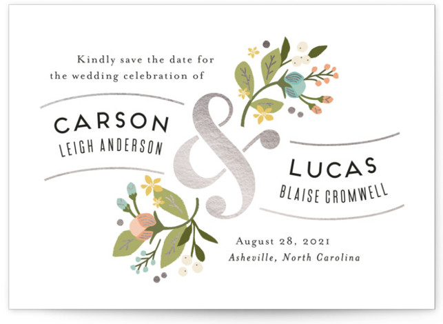 This is a landscape botanical, blue Save the Dates by Jennifer Wick called Floral Ampersand with Foil Pressed printing on Signature in Classic Flat Card format. Darling peonies flowing from an ampersand along with beautifully designed typography rule this wedding ...