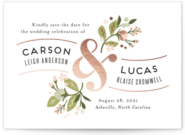 This is a landscape botanical, pink Save the Dates by Jennifer Wick called Floral Ampersand with Foil Pressed printing on Signature in Classic fold over (blank inside) format. Darling peonies flowing from an ampersand along with beautifully designed typography rule ...