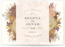 This is a colorful foil stamped save the date card by Phrosne Ras called Floral Runner with foil-pressed printing on signature in standard.
