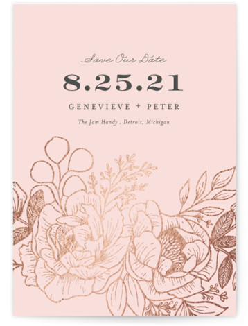 This is a pink Save the Dates by Genna Cowsert called Etched Flowers with Foil Pressed printing on Signature in Classic Flat Card format. This save the date card features an original floral illustration.