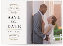 This is a white foil stamped save the date card by Kelly Schmidt called Elegant Announcement with foil-pressed printing on smooth signature in standard.