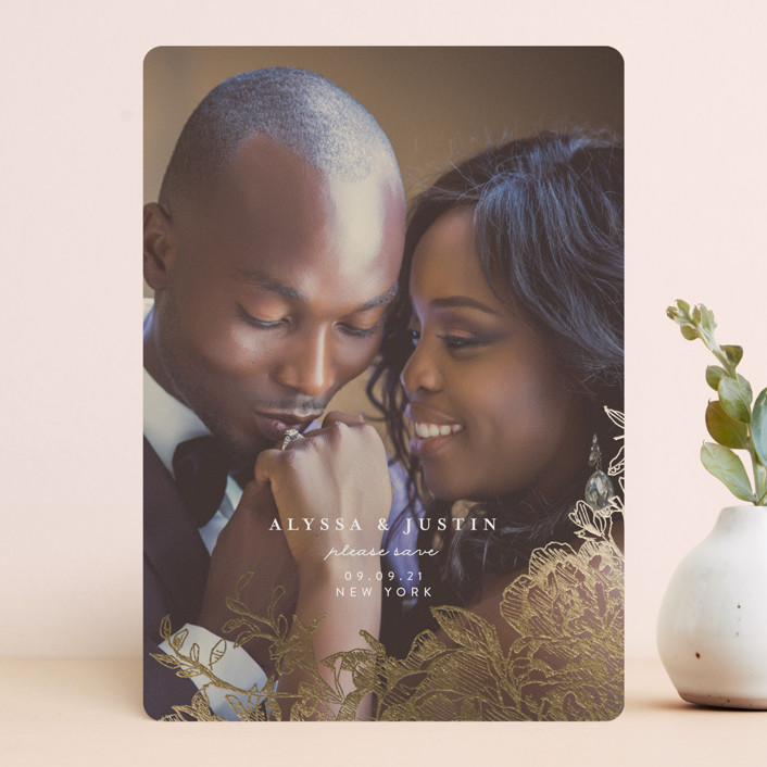 """""""Engraved Flowers"""" - Foil-pressed Save The Date Cards in Golden by Phrosne Ras."""