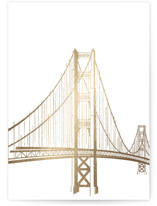 This is a gold foil stamped save the date card by Jody Wody called Golden Gate Bridge with foil-pressed printing on signature in standard.