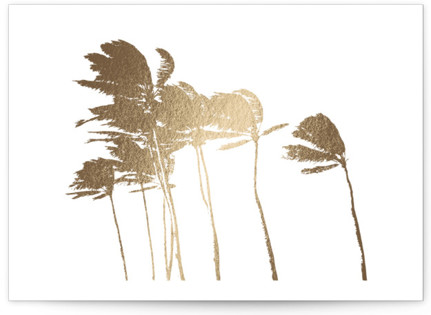 Palm Trees in the Wind Foil-Pressed Save the Date Cards