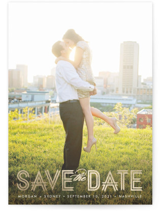Modern Ribbon Foil-Pressed Save the Date Cards