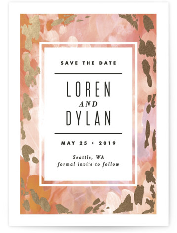 This is a portrait painterly, red Save the Dates by Alethea and Ruth called Gallery Abstract Art with Foil Pressed printing on Signature in Classic Flat Card format. This save the date features an abstract painted background.