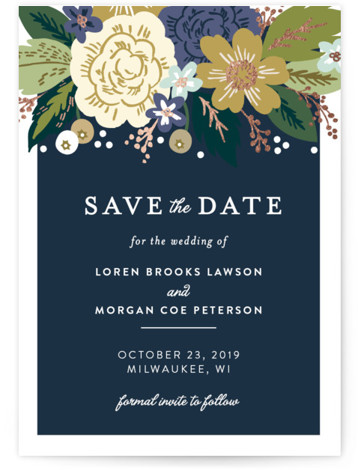 This is a portrait, square orientation botanical, blue Save the Dates by Alethea and Ruth called Classic Floral with Foil Pressed printing on Signature in Classic Flat Card format. This wedding invite features a cascade of flowers and classic type. ...