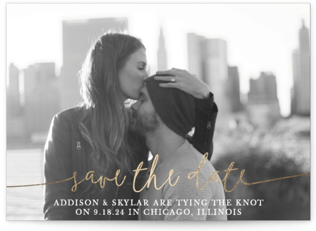 This is a landscape, portrait classic and formal, gold Save the Dates by Christine Taylor called Boho Love with Foil Pressed printing on Smooth Signature in Classic Flat Card format. Announce your marriage with this classic boho, typographic, one photo ...