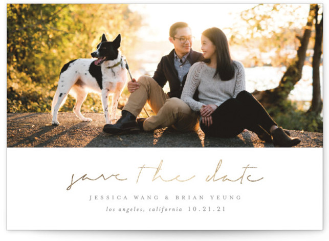 This is a landscape, portrait simple and minimalist, gold, grey Save the Dates by Sara Hicks Malone called Noted with Foil Pressed printing on Smooth Signature in Classic Flat Card format. Refined, rustic + elegant