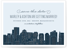 This is a blue foil stamped save the date card by Hooray Creative called Big City - Boston with foil-pressed printing on signature in standard.