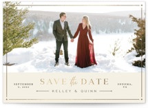 This is a yellow foil stamped save the date card by Amy Kross called Modern Stitch with foil-pressed printing on smooth signature in standard.