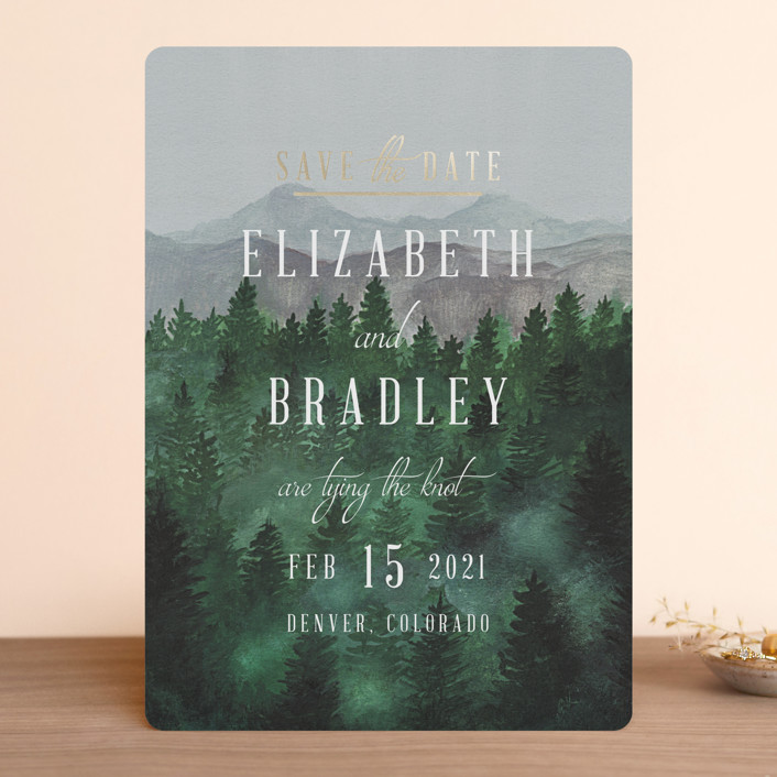 """Adventure Awaits"" - Rustic Foil-pressed Save The Date Cards in Smoke by Elly."
