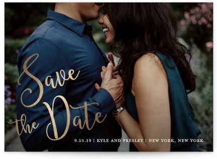 Painted Romance Foil-Pressed Save the Date Cards
