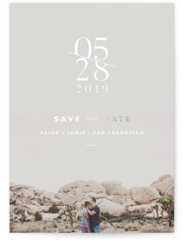 This is a portrait bold and typographic, silver Save the Dates by Dearest Olivia called Our Elegant Love with Foil Pressed printing on Signature in Classic fold over (blank inside) format. Minimal design with subtle hints of gold foil for ...