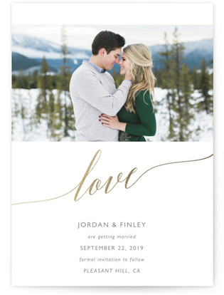 love Save the Date Foil-Pressed Save the Date Cards