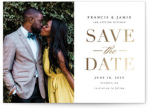 This is a white foil stamped save the date card by Stacey Meacham called Simply Striking with foil-pressed printing on smooth signature in standard.