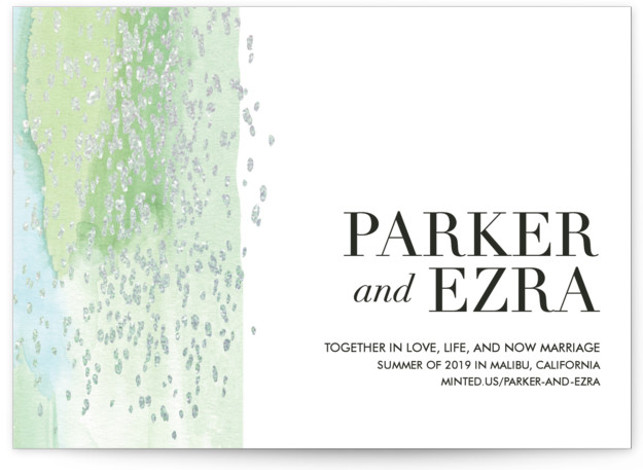 This is a landscape bohemian, blue, green, silver Save the Dates by Kate Ross called Together in Love with Foil Pressed printing on Signature in Classic Flat Card format. Delicate watercolor with flecks of gold scattered over.