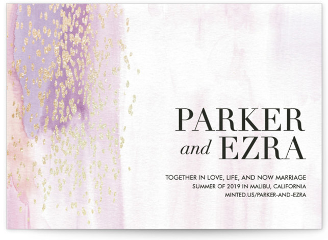 This is a landscape bohemian, gold, pink, purple Save the Dates by Kate Ross called Together in Love with Foil Pressed printing on Signature in Classic fold over (blank inside) format. Delicate watercolor with flecks of gold scattered over.
