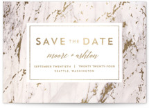 This is a gold foil stamped save the date card by AK Graphics called Marble Matrimony with foil-pressed printing on signature in standard.