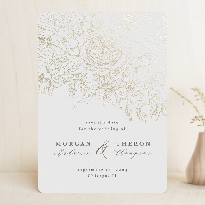 """""""fairy garden"""" - Foil-pressed Save The Date Cards in White by Anastasia Makarova."""