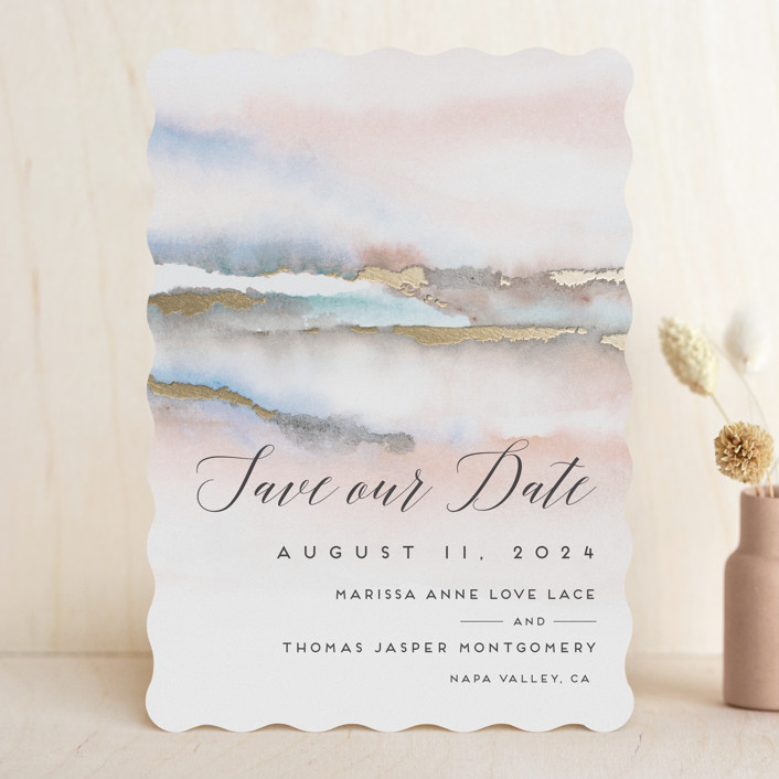 """Hidden Gem"" - Rustic Foil-pressed Save The Date Cards in Sunrise by Petra Kern."