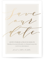 This is a ivory foil stamped save the date card by Kaydi Bishop called Luxe Cream with foil-pressed printing on signature in standard.