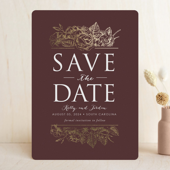 """""""Gilded Wildflowers"""" - Foil-pressed Save The Date Cards in Burgundy by Rochelle Renee."""