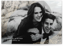 This is a gold foil stamped save the date card by Phrosne Ras called Pebbles with foil-pressed printing on smooth signature in standard.