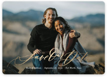 This is a white foil stamped save the date card by Wildfield Paper Co. called Summer of Love with foil-pressed printing on smooth signature in standard.