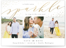 This is a gold foil stamped save the date card by Kelly Schmidt called Sparkle with foil-pressed printing on smooth signature in standard.