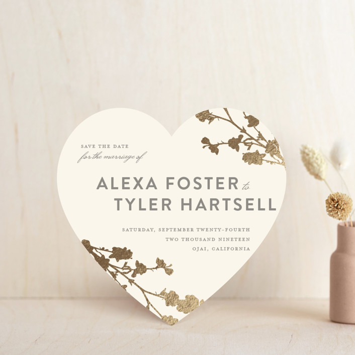 """""""In Bloom"""" - Foil-pressed Save The Date Cards in Gold by Three Kisses Studio."""