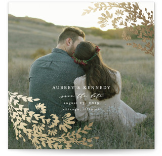 Sweet Wildflowers Foil-Pressed Save the Date Cards