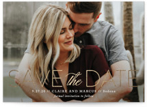 This is a white foil stamped save the date card by Jennifer Postorino called Simply Stated with foil-pressed printing on smooth signature in standard.