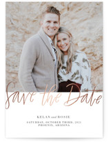 This is a grey foil stamped save the date card by Ashley DeMeyere called Foil Cuties with foil-pressed printing on smooth signature in standard.