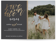 This is a grey foil stamped save the date card by Saltwater Designs called Sumptuous with foil-pressed printing on smooth signature in standard.