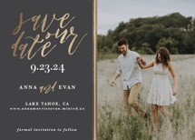 Sumptuous Foil-Pressed Save the Date Cards By Saltwater Designs