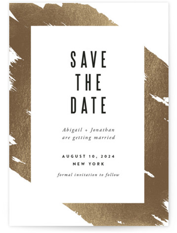 This is a portrait modern, white Save the Dates by Carrie ONeal called Gilded with Foil Pressed printing on Signature in Classic fold over (blank inside) format. A modern, painterly invitation. Graphic and simple. Just how I like 'em! :) ...