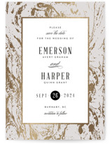 This is a grey foil stamped save the date card by Kelly Schmidt called Modern Marble with foil-pressed printing on signature in standard.