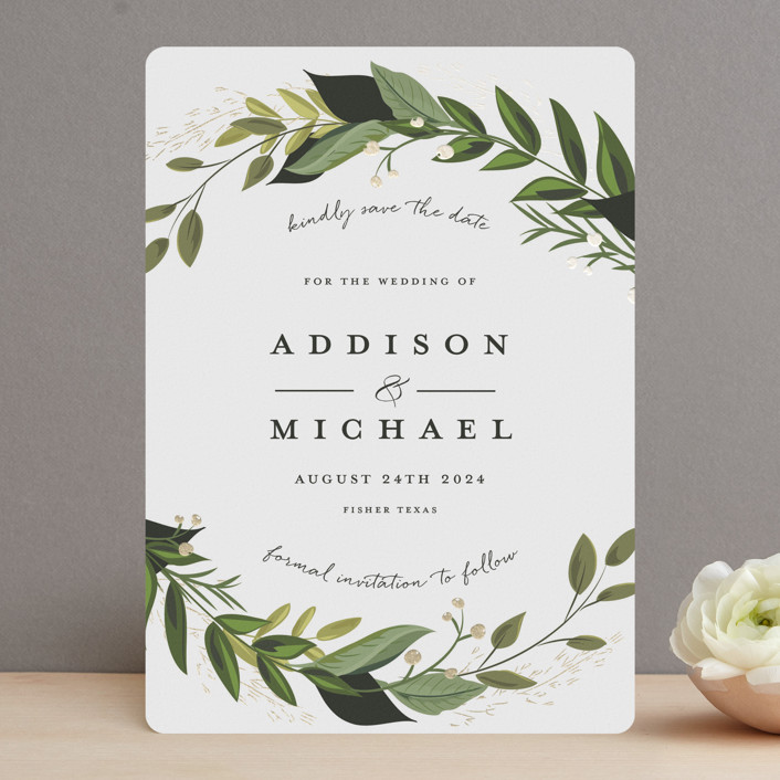 """""""Vines of Green"""" - Foil-pressed Save The Date Cards in Fern by Susan Moyal."""