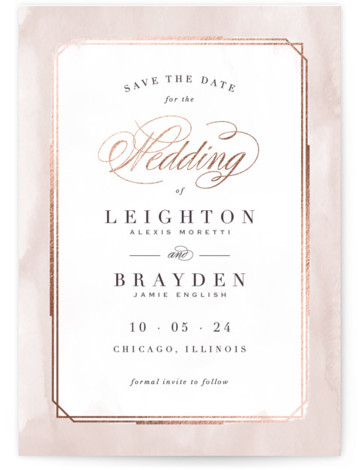 This is a portrait modern, pink Save the Dates by Hooray Creative called Forever Elegant with Foil Pressed printing on Signature in Classic Flat Card format. An elegant, typographic design with subtle, textured border and rose gold accents.