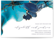 This is a blue foil stamped save the date card by Erin Deegan called Modern Tide Pools with foil-pressed printing on signature in standard.