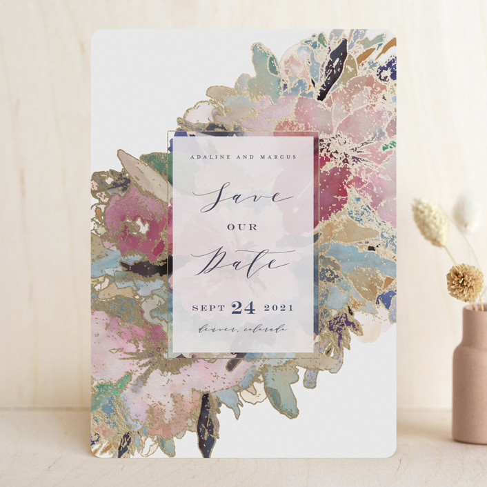 """""""Gilded Drape"""" - Foil-pressed Save The Date Cards in Fruitcake by Grace Kreinbrink."""