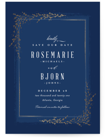 This is a blue Save the Dates by chocomocacino called positano with Foil Pressed printing on Signature in Classic fold over (blank inside) format. Classic and elegant invite, inspired by falling foliage that is perfect for outdoor party