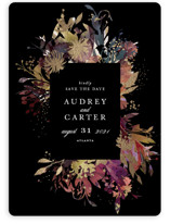 This is a black foil stamped save the date card by Lori Wemple called Fantasy with foil-pressed printing on signature in standard.
