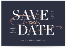 This is a blue foil stamped save the date card by Leah Bisch called Isabella with foil-pressed printing on signature in standard.