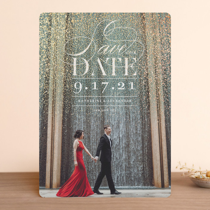 """""""Sparkling Dust"""" - Foil-pressed Save The Date Cards in Snow by fatfatin."""