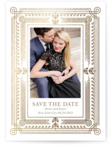 This is a brown foil stamped save the date card by Alexandra Dzh called Modern Frame with foil-pressed printing on smooth signature in standard.